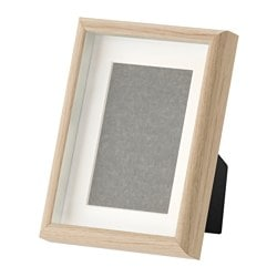 MOSSEBO frame, white stained oak effect Picture without mount, width: 15 cm Picture without mount, height: 20 cm Picture with mount, width: 10 cm