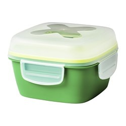"BLANDNING lunch box for salad, green Length: 6 ¾ "" Width: 6 ¾ "" Height: 4 ¼ "" Length: 17 cm Width: 17 cm Height: 11 cm"