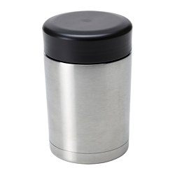 "EFTERFRÅGAD vacuum food container, stainless steel Height: 6 "" Volume: 17 oz Height: 14 cm Volume: 0.5 l"