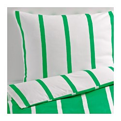 TUVBRÄCKA quilt cover and 2 pillowcases, white, green Pillowcase quantity: 2 pack Quilt cover length: 200 cm Quilt cover width: 150 cm