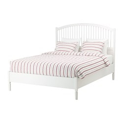 TYSSEDAL bed frame, Luröy, white Length: 212 cm Footboard height: 44 cm Headboard height: 140 cm