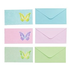 KÄRESTA card with envelope, green blue, pink Width: 18.5 cm Height: 10 cm Package quantity: 3 pack
