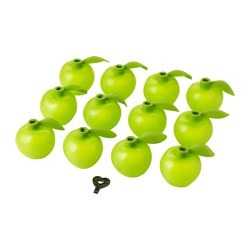 SOLVINDEN decoration for lighting chain, apple-shaped green Diameter: 7.5 cm Package quantity: 12 pack