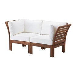 ÄPPLARÖ /  KUNGSÖ 2-seat sofa, outdoor, white, brown stained Width: 160 cm Depth: 80 cm Seat height: 36 cm