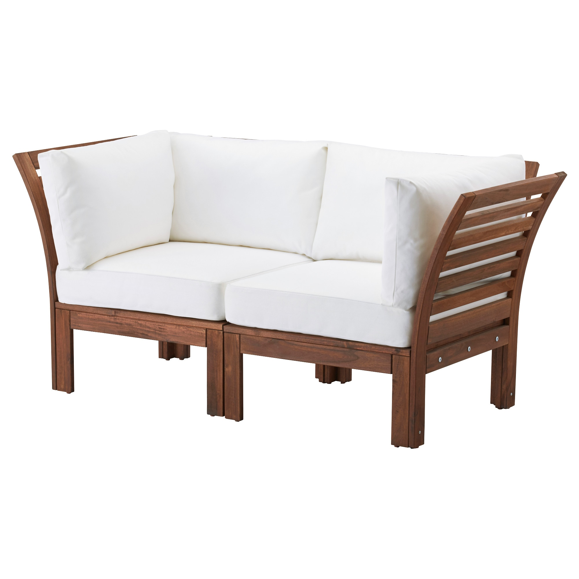 """PPLAR– Loveseat outdoor brown stained Kungsö white IKEA"