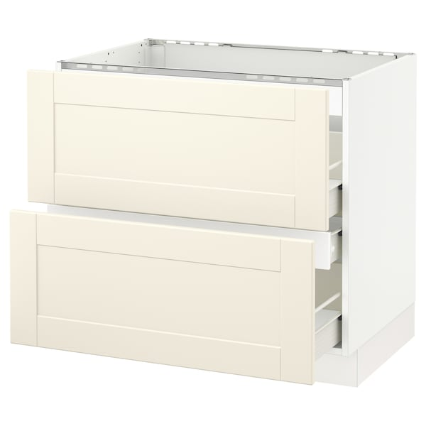 Sektion Base Cabinet F Cooktop W 3 Drawers White Forvara Grimslov Off White