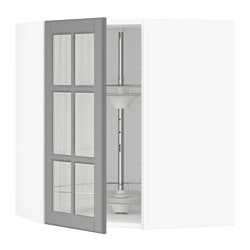 SEKTION corner wall cab/carousel/glass door, white, Bodbyn gray