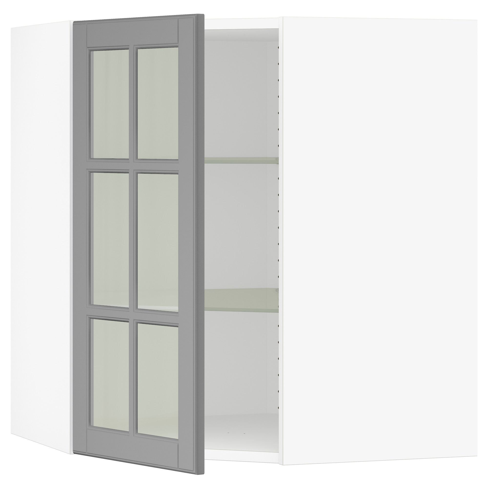 SEKTION Corner wall cabinet with glass door - white, Bodbyn gray ...