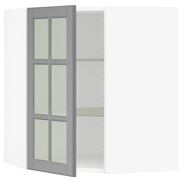 SEKTION Corner wall cabinet with glass door - white, Bodbyn ...