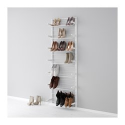 "ALGOT wall upright/shoe organizer, white Width: 26 "" Depth: 7 7/8 "" Height: 77 1/8 "" Width: 66 cm Depth: 20 cm Height: 196 cm"