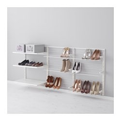 ALGOT wall upright/shelves/shoe organiser, metal white Width: 190 cm Depth: 40 cm Height: 84 cm