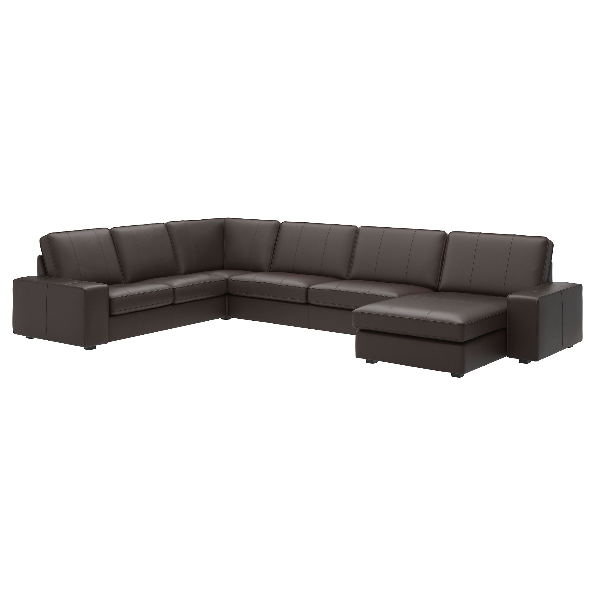 sectional leatherfaux leather sofas  ikea - kivik sectional seat corner grann bomstad dark brown depth chaise