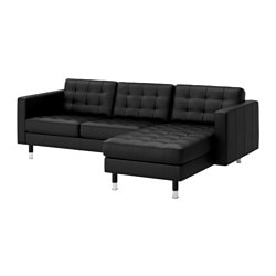 "LANDSKRONA loveseat and chaise, Bomstad black/metal, Grann Max. depth: 62 1/4 "" Armrest height: 25 1/4 "" Min. seat depth: 22 "" Max. depth: 158 cm Armrest height: 64 cm Min. seat depth: 56 cm"