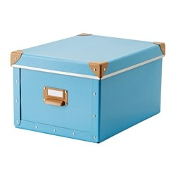 "FJÄLLA box with lid, blue Width: 10 ¾ "" Depth: 14 ¼ "" Height: 7 ¾ "" Width: 27 cm Depth: 36 cm Height: 20 cm"