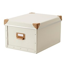 "FJÄLLA box with lid, off-white Width: 10 ¾ "" Depth: 14 ¼ "" Height: 7 ¾ "" Width: 27 cm Depth: 36 cm Height: 20 cm"