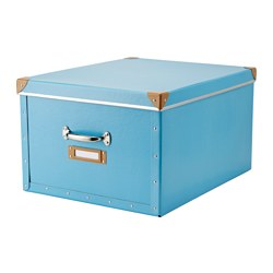 "FJÄLLA box with lid, blue Depth including handle: 22 "" Width: 15 ¾ "" Depth: 19 ¾ "" Depth including handle: 56 cm Width: 40 cm Depth: 50 cm"