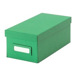 "TJENA box with lid, green Width: 5 "" Depth: 10 ¼ "" Height: 4 "" Width: 13 cm Depth: 26 cm Height: 10 cm"