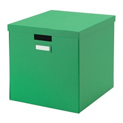 TJENA box with lid, green Width: 32 cm Depth: 35 cm Height: 32 cm