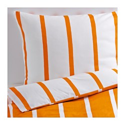 TUVBRÄCKA quilt cover and 2 pillowcases, white, orange Pillowcase quantity: 2 pack Quilt cover length: 200 cm Quilt cover width: 150 cm