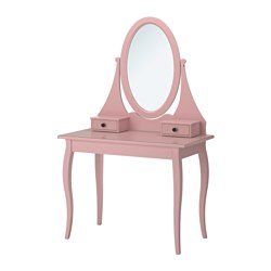 HEMNES dressing table with mirror, pink Width: 100 cm Depth: 50 cm Height: 159 cm