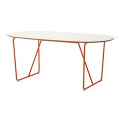 SLÄHULT table, white, Backaryd orange