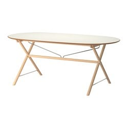 SLÄHULT table, white, Dalshult birch