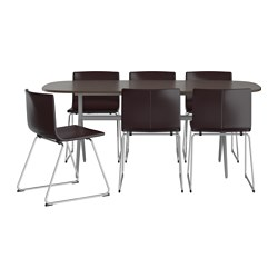 "OPPEBY/ OPPMANNA /  BERNHARD table and 6 chairs, dark brown/gray, Kavat dark brown Length: 72 7/8 "" Width: 35 3/8 "" Length: 185 cm Width: 90 cm"