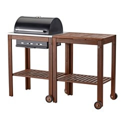 ÄPPLARÖ /  KLASEN charcoal barbecue with trolley, brown stained Width: 147 cm Depth: 58 cm Height: 109 cm