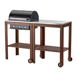 ÄPPLARÖ /  KLASEN charcoal barbecue with trolley, brown stained, stainless steel