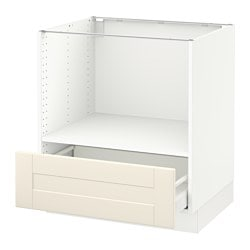 SEKTION base cabinet for microwave+1 drawer, white Maximera, Grimslöv off-white