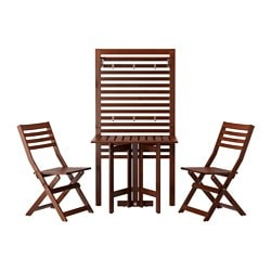 ÄPPLARÖ wall panel+gatleg table+2 chairs, outdoor, brown stained