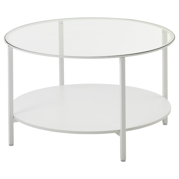 Table Basse Blanche Verre.Table Basse Vittsjo Blanc Verre