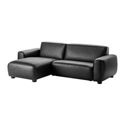 DAGARN two-seat sofa with chaise longue, Kimstad black Width: 245 cm Min. depth: 94 cm Max. depth: 157 cm