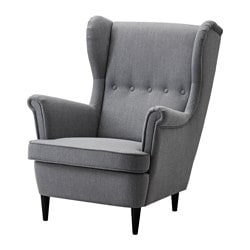 STRANDMON wing chair, Nordvalla dark gray