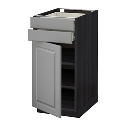 METOD /  FÖRVARA base cabinet w door/2 drawers, Bodbyn grey, black Width: 40.0 cm Depth: 61.9 cm Frame, depth: 60.0 cm