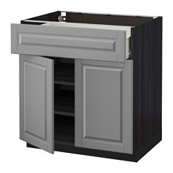METOD /  FÖRVARA base cabinet with drawer/2 doors, Bodbyn grey, black Width: 80.0 cm Depth: 61.9 cm Frame, depth: 60.0 cm