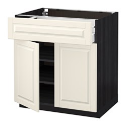 METOD /  MAXIMERA base cabinet with drawer/2 doors, Bodbyn off-white, black Width: 80.0 cm Depth: 61.9 cm Frame, depth: 60.0 cm