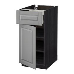 METOD /  FÖRVARA base cabinet with drawer/door, Bodbyn grey, black Width: 40.0 cm Depth: 61.9 cm Frame, depth: 60.0 cm