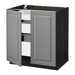 METOD /  MAXIMERA base cabinet w 2 doors/3 drawers, Bodbyn grey, black Width: 80.0 cm Depth: 61.9 cm Frame, depth: 60.0 cm
