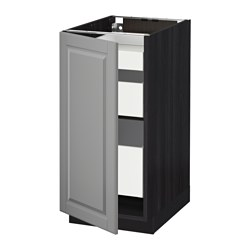 METOD /  MAXIMERA base cabinet with 1 door/3 drawers, black, Bodbyn grey Width: 40.0 cm Depth: 61.9 cm Frame, depth: 60.0 cm