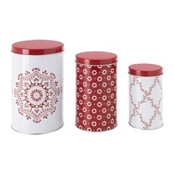VINTER 2015 tin with lid, set of 3, red, assorted patterns