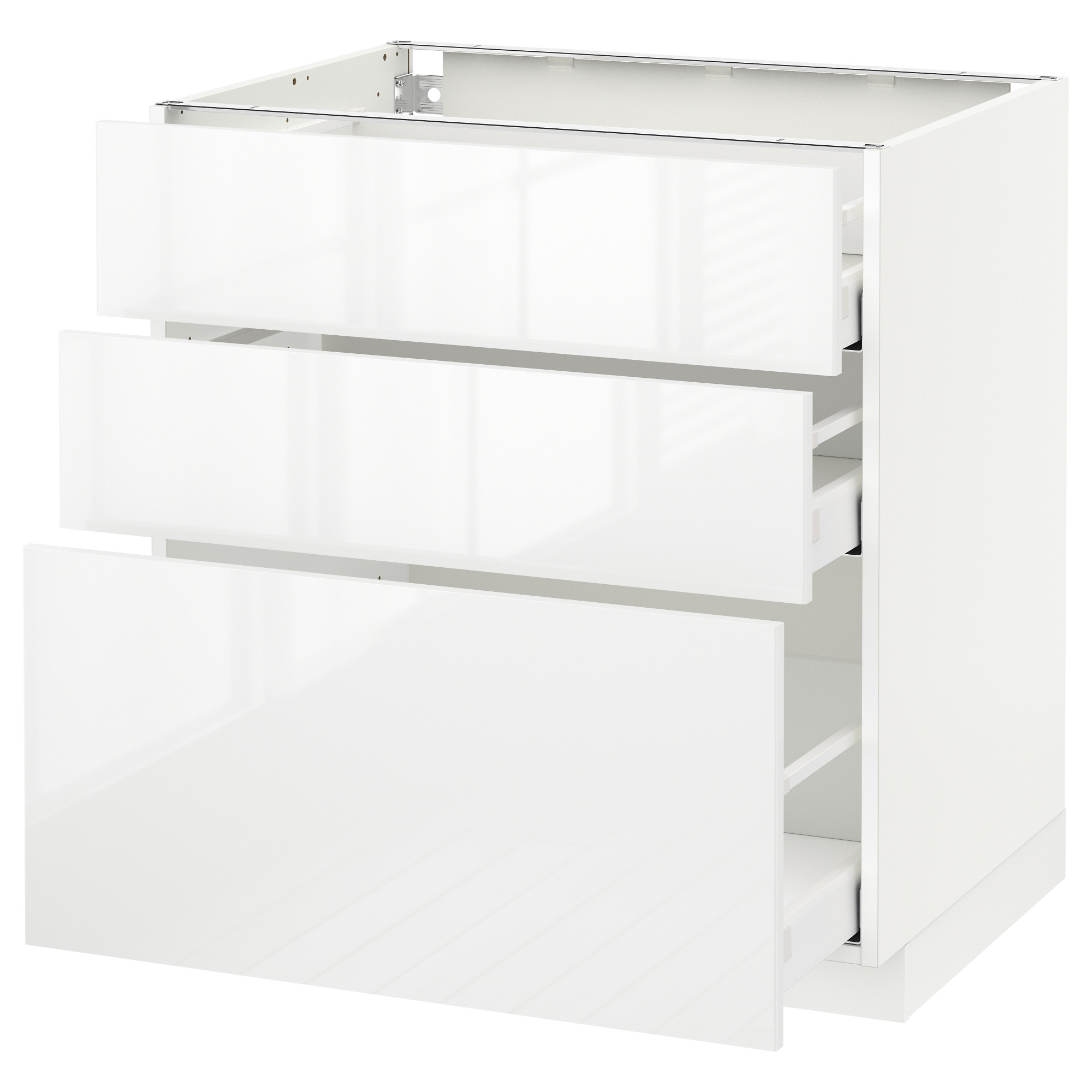Metod Maximera Base Cabinet With 3 Drawers White Ringhult High Gloss 80x60 Cm Ikea
