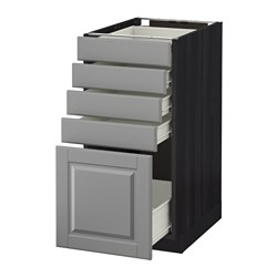 METOD /  FÖRVARA base cabinet with 5 drawers, Bodbyn grey, black Width: 40.0 cm Depth: 61.9 cm Frame, depth: 60.0 cm