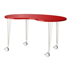 HISSMON /  KRILLE table, cashew nut shaped red, white Length: 140 cm Width: 75 cm Height: 73 cm