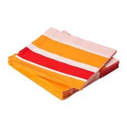 BREDVID paper napkin, light pink orange, red Length: 33 cm Width: 33 cm Package quantity: 30 pack