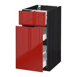 METOD /  MAXIMERA base cabinet/p-out storage/drawer, Ringhult red, black Width: 40.0 cm Depth: 61.8 cm Frame, depth: 60.0 cm