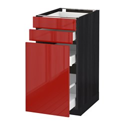 METOD /  MAXIMERA base cab pull-out storage/2 fronts, Ringhult red, black Width: 40.0 cm Depth: 61.8 cm Frame, depth: 60.0 cm