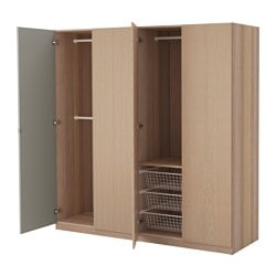 PAX wardrobe, Nexus Vikedal, white stained oak effect Width: 200 cm Depth: 60 cm Height: 201.2 cm