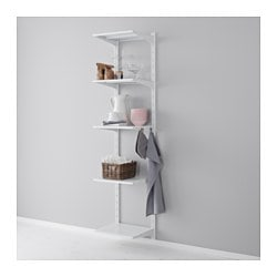 "ALGOT wall upright, shelf and hook, metal white Width: 17 3/4 "" Depth: 15 3/4 "" Height: 77 1/8 "" Width: 45 cm Depth: 40 cm Height: 196 cm"