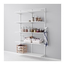 "ALGOT wall upright, shelf and triple hook, white Width: 52 "" Depth: 15 3/4 "" Height: 77 1/8 "" Width: 132 cm Depth: 40 cm Height: 196 cm"